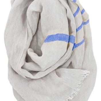 Lniany szal USVA 70x200 Lniano-Niebieski