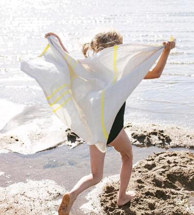 Ręcznik lniany USVA 70x130 Lniano-Żółty