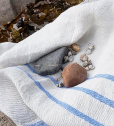 Ręcznik lniany USVA 70x130 Lniano-Niebieski