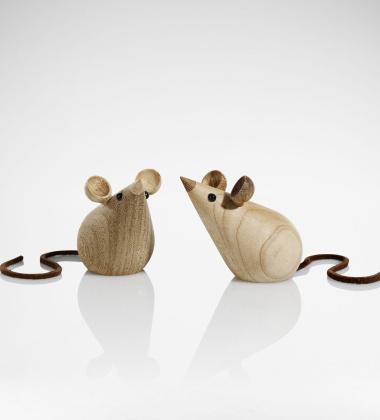 Drewniane myszki MICE 5,5 cm Set 2 Klon i Tropikalny Kasztan