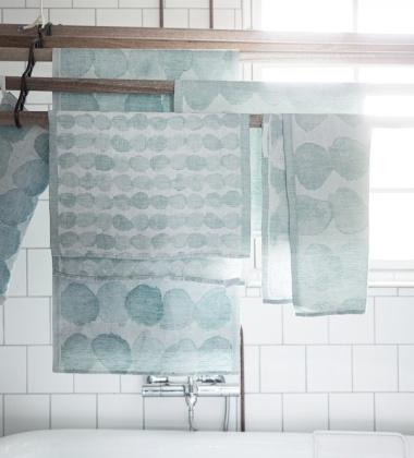 Ręcznik lniany kąpielowy SADE 95x180 Biało-Turkusowy