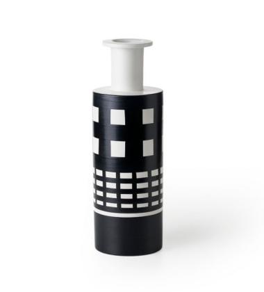 Wazon Ettore Sottsass Vase Racchetto H45 Bianco-Nero