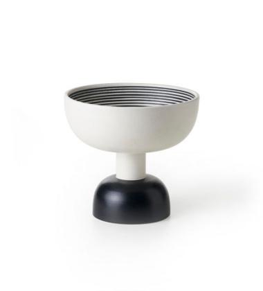 Waza Ettore Sottsass Vase Alzata H23 Bianco-Nero