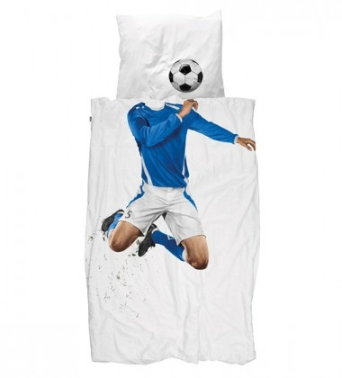 Pościel bawełniana z piłkarzem 140x200 BLUE SOCCER CHAMP