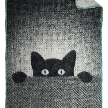 Kocyk dziecięcy z kotkiem SNEAKY 70x90 cm Czarno-Szary