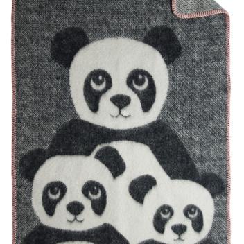 Kocyk dziecięcy z pandą FRIENDS 70x90 cm Czarno-Szary