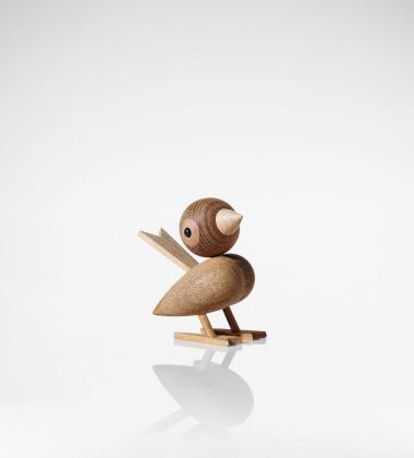 Drewniany ptaszek H 8 cm Gunnar Sparrow Kasztan tropikalny