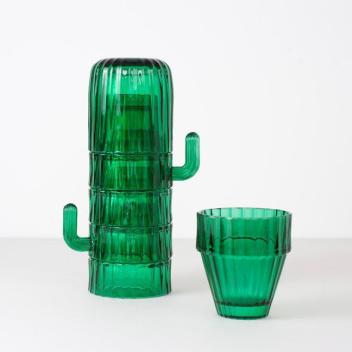 Komplet szklanek z zielonego szkła SAGURO Set 6 Kaktus