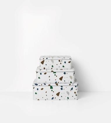 Zestaw metalowych puszek Tin Boxes Terrazzo Set 3 Szare