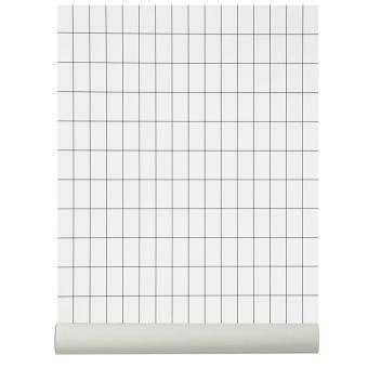 Tapeta z wzorem kratki GRID 53x1000 cm Biało-Czarna