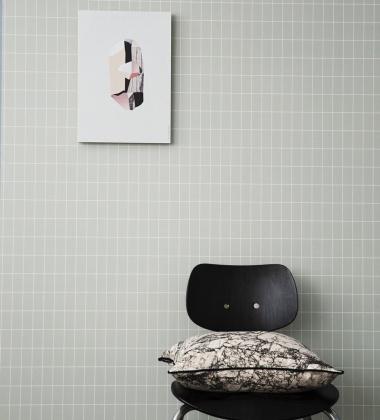 Tapeta z wzorem kratki GRID 53x1000 cm Miętowa