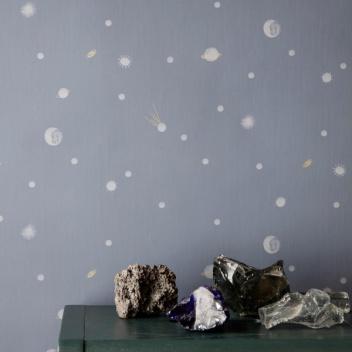 Tapeta z wzorem kosmosu MOON 53x1000 cm Granatowa