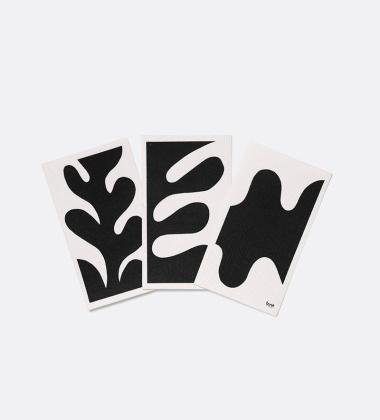 Myjki kuchenne LEAF DISH Cloths 15x25,5 Set 3 Czarno-Białe