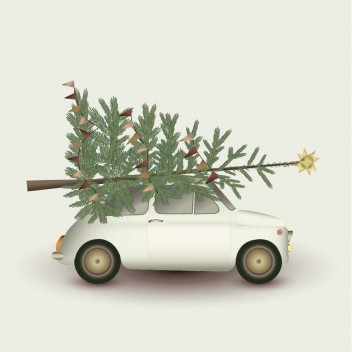 Poster 15x21 CHRISTMAS TREE and LITTLE CAR By ViSSEVASSE