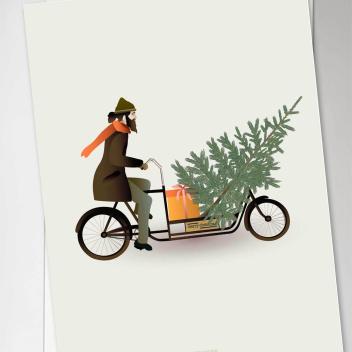 Kartka świąteczna 10x15 BIKE WITH CHRISTMAS TREE By ViSSEVASSE