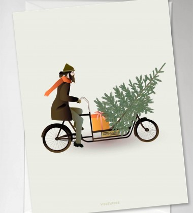 Kartka świąteczna 10x15 BIKE WITH CHRISTMAS TREE By ViSSEVASSE