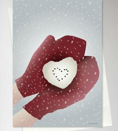 Kartka świąteczna 10x15 SNOW HEART By ViSSEVASSE