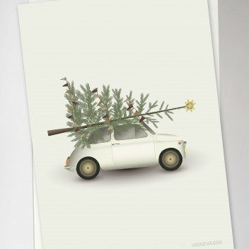 Kartka świąteczna 10x15 CHRISTMAS TREE and LITTLE CAR By ViSSEVASSE