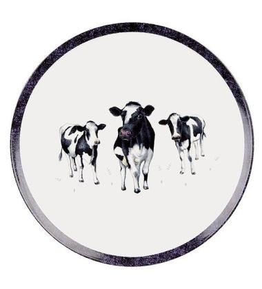 Talerz do ciasta z porcelany w krówki 27 cm DAIRY BELLES Biały