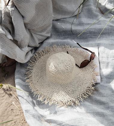 Lniany ręcznik kąpielowy JOKI 95x180 cm Szary