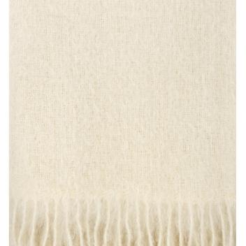 Koc Saaga Uni Mohair 130x180 Biały Naturalny