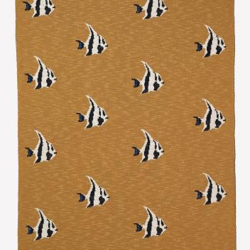 Kocyk dziecięcy ryby FRUITICANA 80x100 STRIPY FISH Szaro-Brązowy