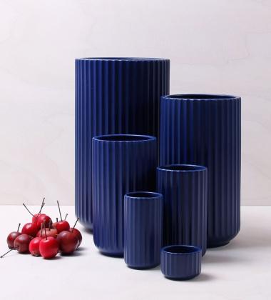 Wazon z porcelany Lyngby 20 cm Niebieski Mat