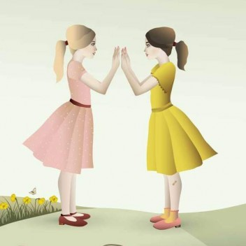 Poster 30x40 HAND-CLAPPING GIRLS By ViSSEVASSE