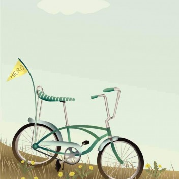 Poster 30x40 BIKE WITH THE FLAG By ViSSEVASSE