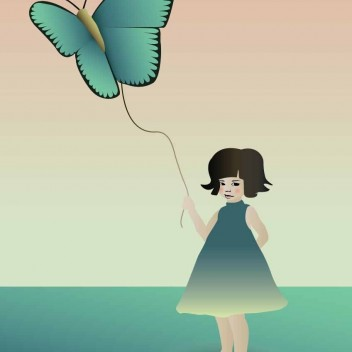 Poster 30x40 THE GIRL WITH THE BUTTERFLY By ViSSEVASSE