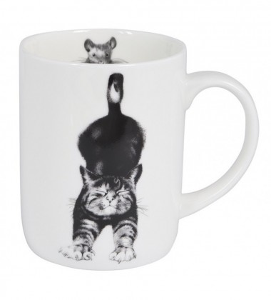 Kubek z porcelany z kotem 350 ml Casual Cats Stretching