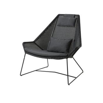 Fotel z technorattanu z 3 poduszkami BREEZE Highback Chair Set Czarny