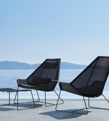 Fotel z technorattanu z poduszkami BREEZE Highback Chair Set Czarny