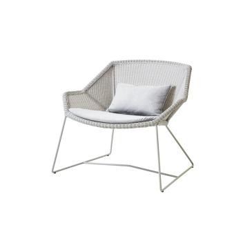Fotel z technorattanu z 2 poduszkami BREEZE Lounge Chair Set Jasny Szary