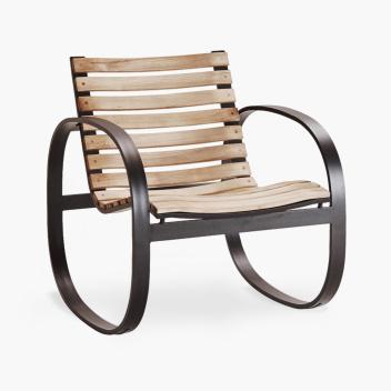 Fotel bujany PARC ROCKING Chair Teak Czarny