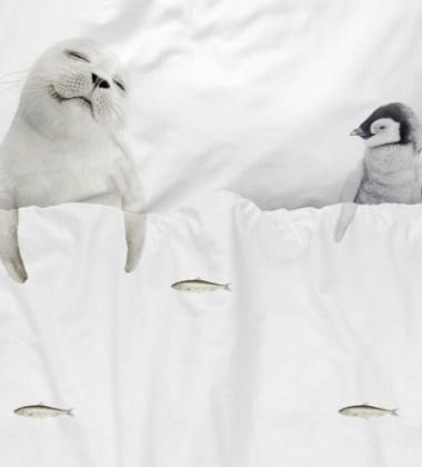 Pościel bawełniana z foką i pingwinem 140x200 ARCTIC FRIENDS
