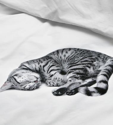 Pościel bawełniana z kotkiem 140x200 OLLIE