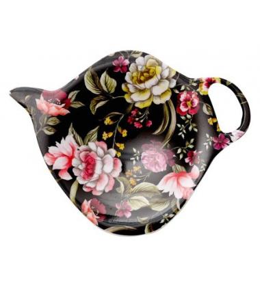 Ociekacz na herbatę z melaminy w hebanowe róże 9,5x7,4 EBONY ROSE