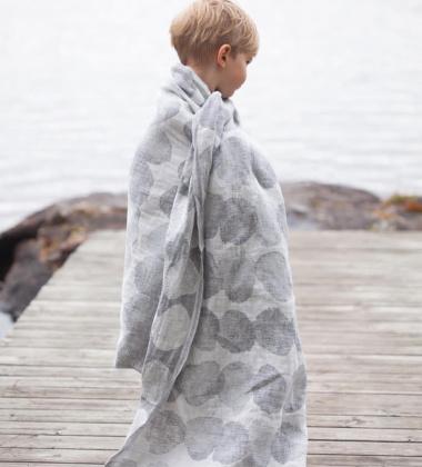Ręcznik lniany kąpielowy SADE 95x180 Biało-Szary