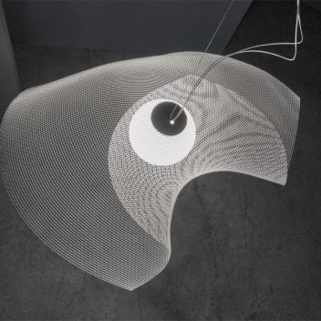 Lampa wisząca z metalowej siatki MYTILUS LARGE 91x72 cm Biała