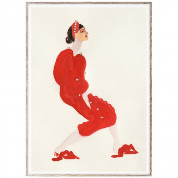 Poster 50x70 RED WITH PEARLS by Amelie Hegardt