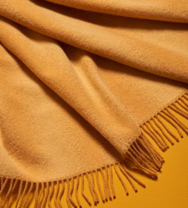 Koc wełniany TIDE BLANKET 175x130 Żółto-Musztardowy