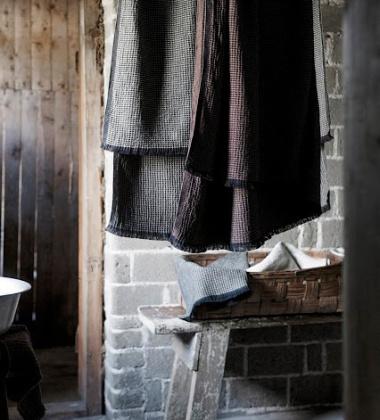 Ręcznik kąpielowy lniany LAINE 85x175 Brązowo-Czarny