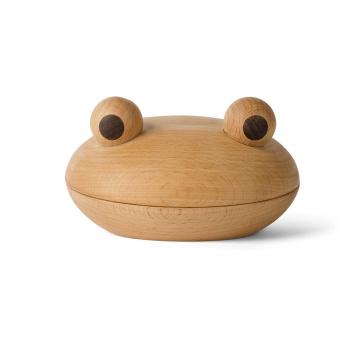 Drewniane pudełeczko żaba THE FROG BOWL 8x13,5 Buk-Orzech