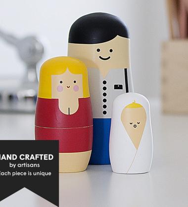 Laleczki drewniane matrioszki Set 3 Expressions FAMILY