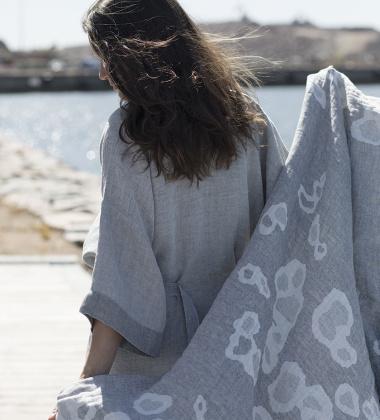 Ręcznik lniany kąpielowy SAIMAANNORPPA 95x180 Szary