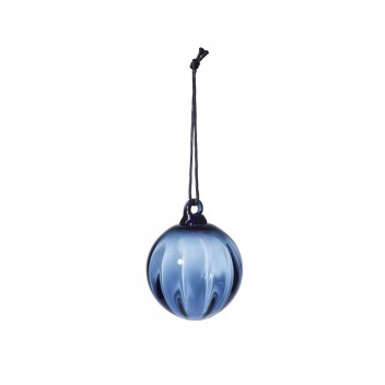 Mouth Blown Christmas Glass Ball 6 cm Blue