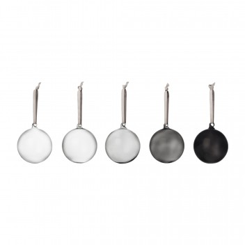 Komplet szklanych bombek GREY GLASS BALL 5 SET