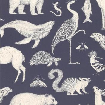 Tapeta z wzorem zwierząt 53x1000 cm KATIE SCOTT ANIMALS Granatowa