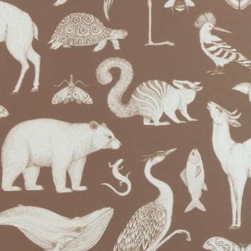 Tapeta z wzorem zwierząt 53x1000 cm KATIE SCOTT ANIMALS Brązowa